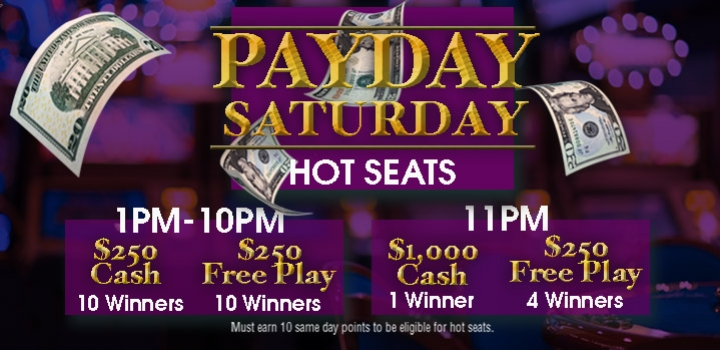 Payday Hot Seats Saturdays at Mole Lake Casino