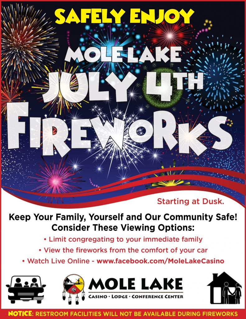 4th of July Fireworks at Mole Lake Casino